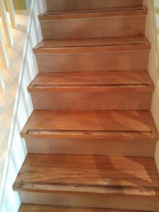 replacing wall to wall carpet with hardwood on stairs