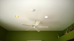 living room recessed can lights and original ceiling fan