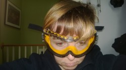 me wearing my yellow dewalt safety goggles