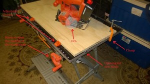using a circular saw with a black and decker workmate table