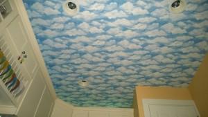 kitchen ceiling cloud wallpaper