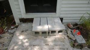 cement cinder block temporary front steps