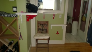 downstairs hall cat platforms with red ikea brackets and birdie