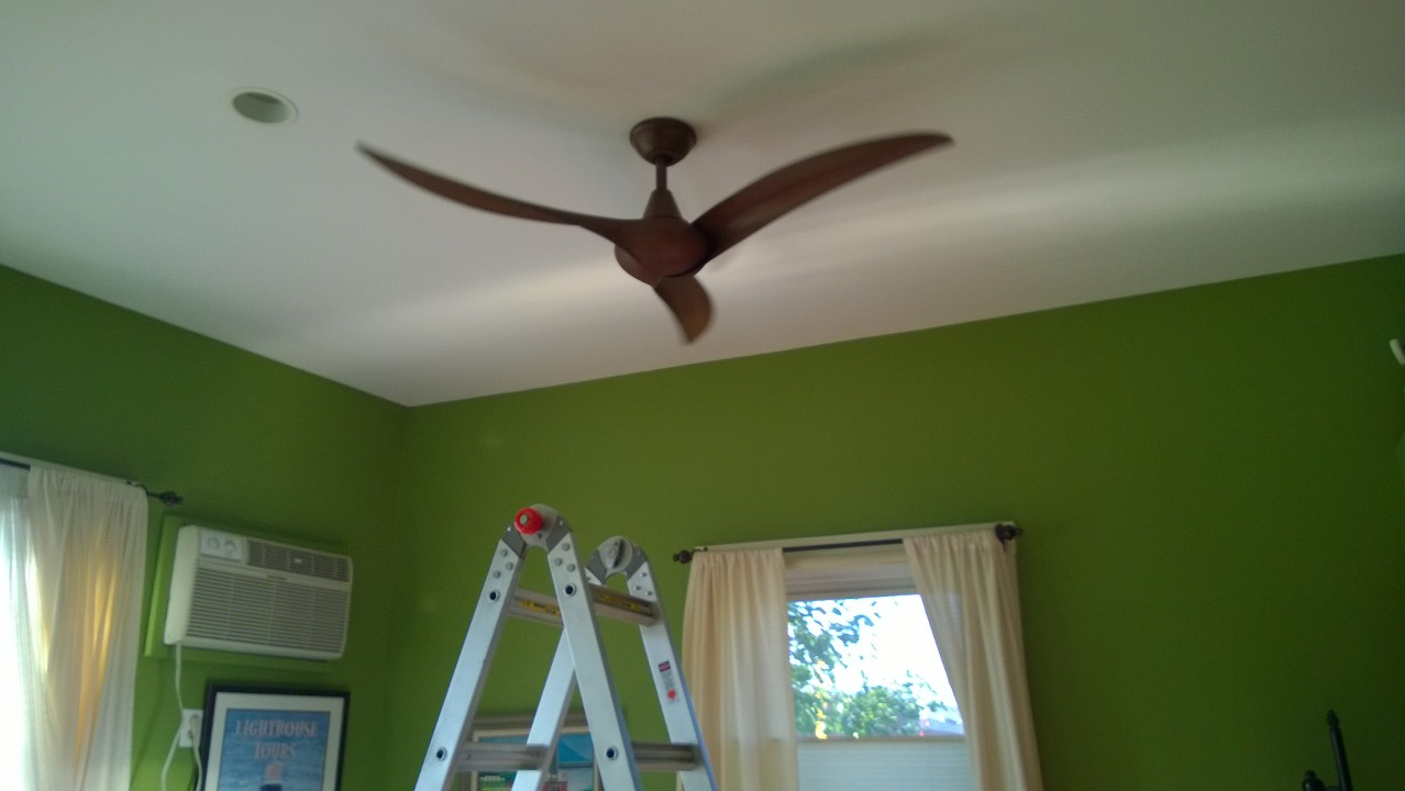 Installing The New Ceiling Fan In Living Room Taking For A Test Drive