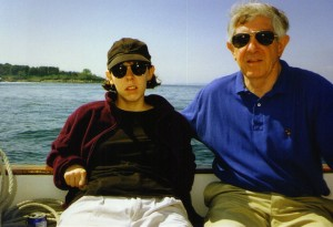 me with dad on his boat back in college, early 1990's