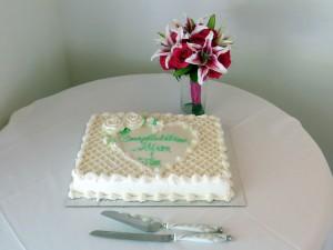 beach wedding vow renewal reception cake