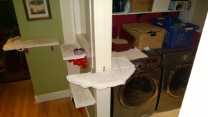 laundry room expansion of downstairs hall cat platforms and litter box