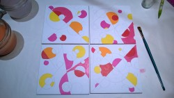 """starting on my set of 4 circle mosaic paintings - acrylic on 5X5"""" gesso board"""