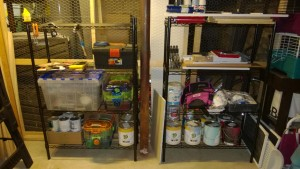 new black whitmore wire shelving in basement workshop