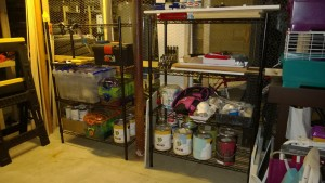 new black whitmore wire shelving in basement workshop / cage