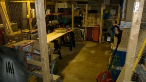basement workshop / cage floor covered in water