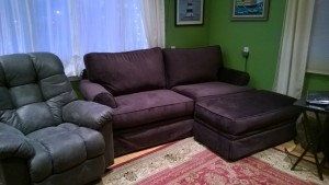 our new purple couch and new laz-e-boy recliner!