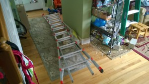 getting ready to shovel snow off the front entranceway roof with ladder