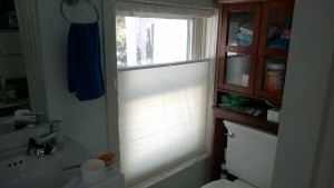 after sealing the master bathroom window with plastic insulation