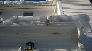 diy roof ice melter making quick work of the ice dam during snowmageddon 2015
