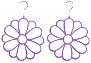 purple scarf hangers that look like flowers