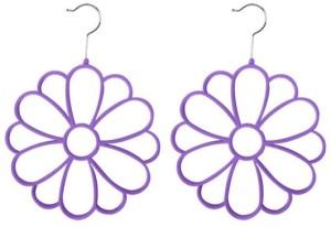 purple scarf hangers that look like flowers