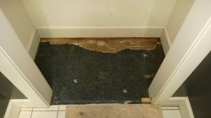old linoleum in the front entrance hall closet