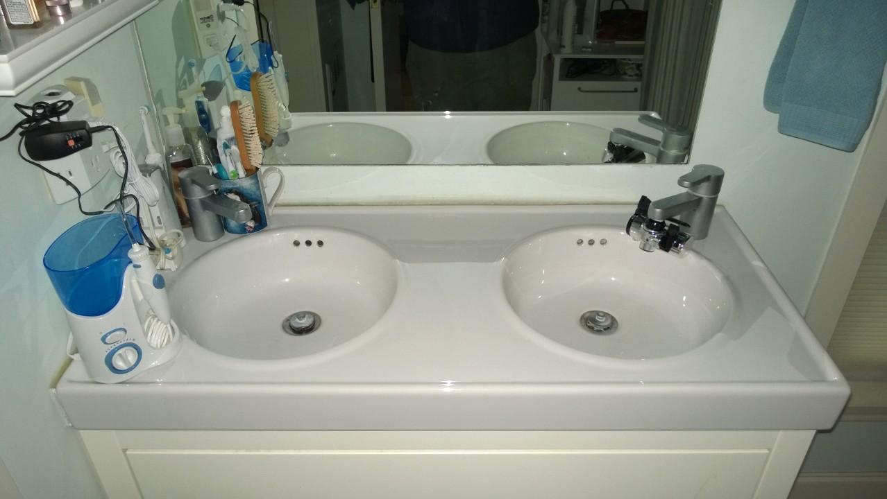 Tbt master bathroom double sink d vanity orbited by for Master bathroom vanities double sink