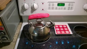 Chantal harmonica tea kettle on the kitchen stove from martha