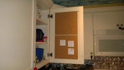 kitchen cabinet bulletin / cork board project