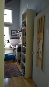 tall skinny bookcase in girl cave from martha