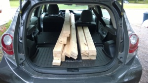 wood for the outdoor cat enclosure / catio in back of jim's car