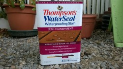 outdoor cat enclosure / catio thompson's waterseal waterproofing stain acorn