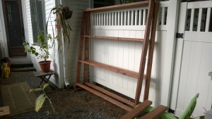outdoor cat enclosure / catio frame stained yard