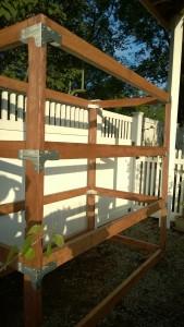 outdoor cat enclosure / catio frame assembled with rigid tie connectors