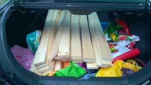 wood for the outdoor cat enclosure / catio in the back of my car