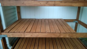 outdoor cat enclosure / catio shelf slats stained and ready to go