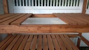 outdoor cat enclosure / catio shelf slats nailed down