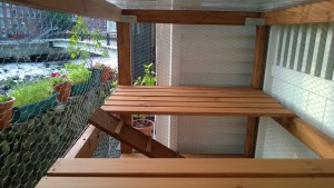 attaching ramps for bonkers to the outdoor cat enclosure / catio