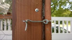 building the door for the outdoor cat enclosure / catio, adding locks