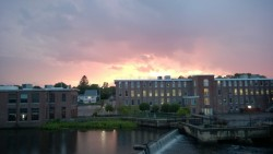 sunset over the ipswich river, waterfall, and ebsco