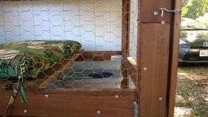 outdoor cat enclosure / catio when the luan slats were screwed on