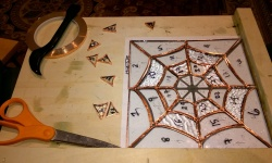 copper foiling the stained glass spiderweb