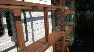 nailing on luan slats for the outdoor cat enclosure / catio connector