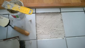 fixing the cracked tile in the master bathroom / applying mortar