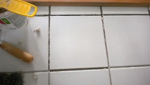 fixing the cracked tile in the master bathroom / new tile placed