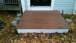 staining the front stoop with waterseal