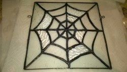 adding reinforced hooks to the side of the stained glass spider web