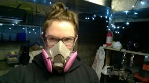 me wearing my respirator mask