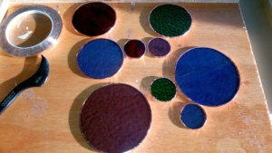 creating stained glass circles, copper foiling the edges