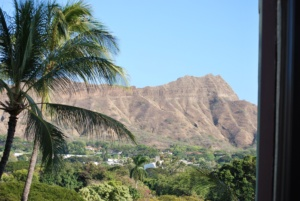 view of diamond head crater from our hotel room, oahu, hawaii