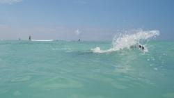 hubby making waves at waikiki beach, oahu, hawaii