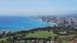 view of waikiki beach oahu, hawaii from diamond head crater