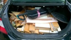 the trunk of my car full of crap for the dump