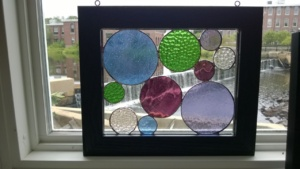my first stained glass circles project with 2 clear bubble glass circles added